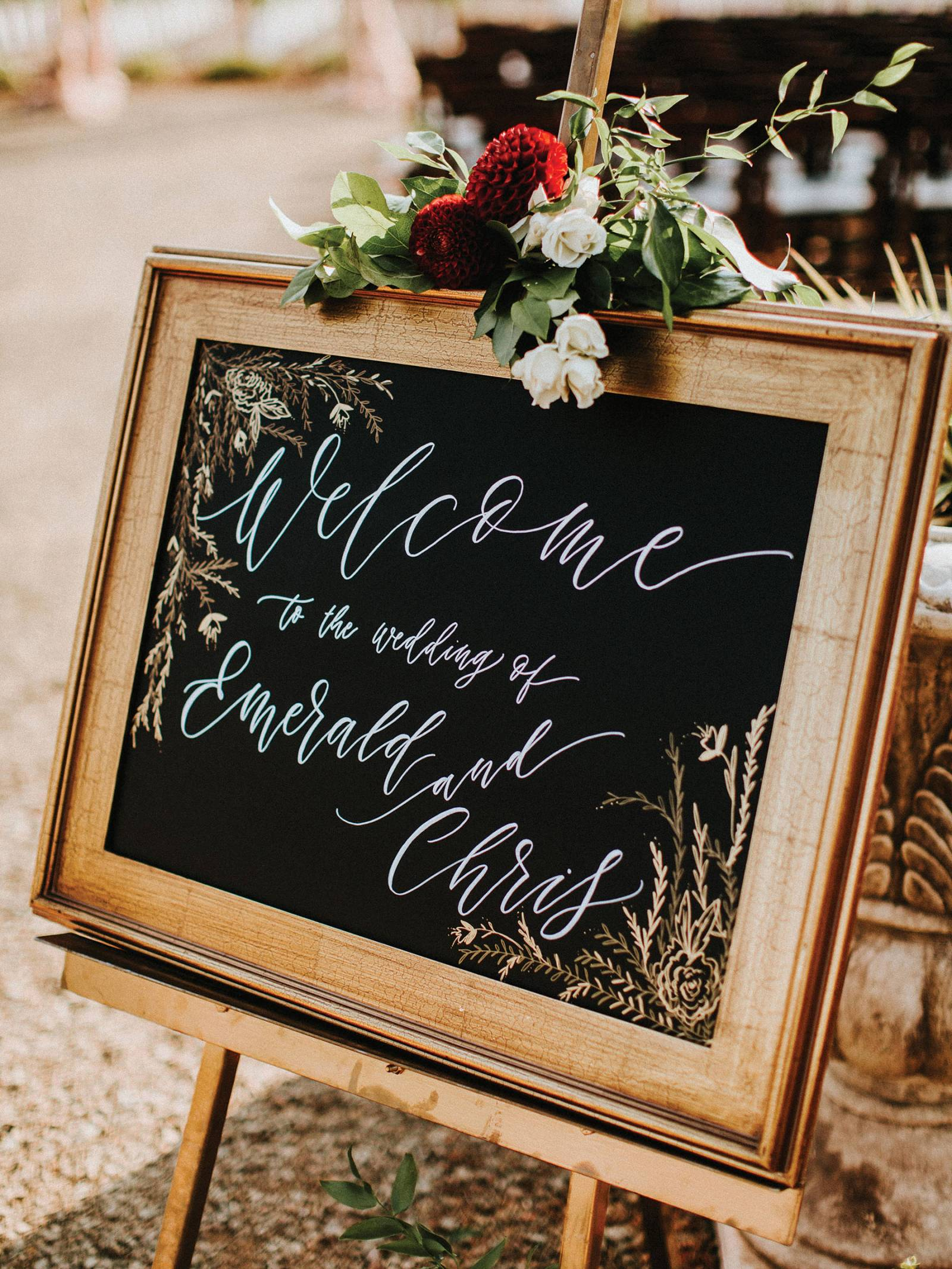 wood framed chalkboard ceremony sign
