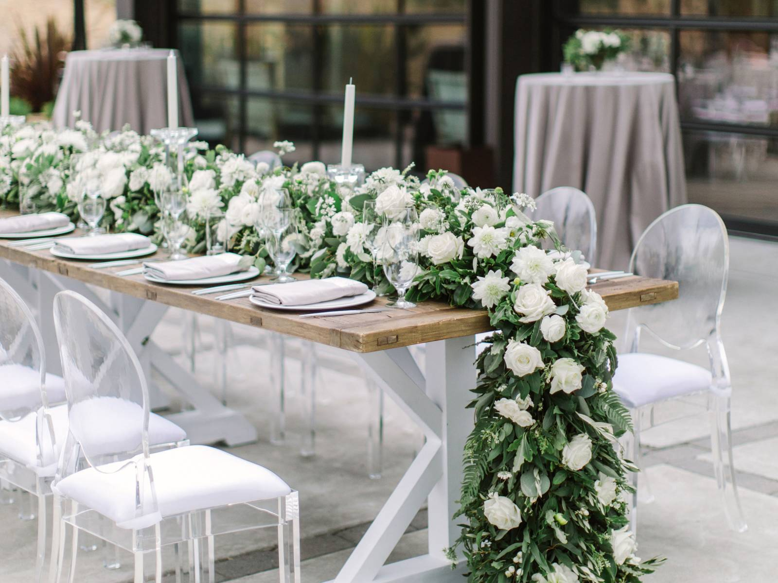 cascading floral runner in white and greenery