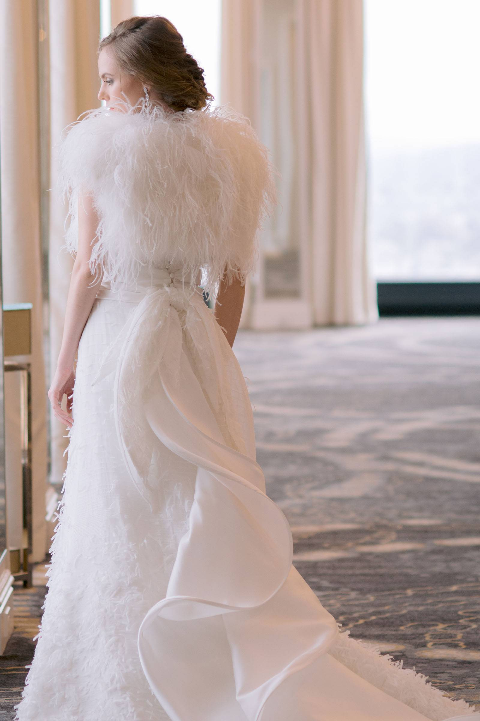 Wedding gown with Ostrich feather shrug