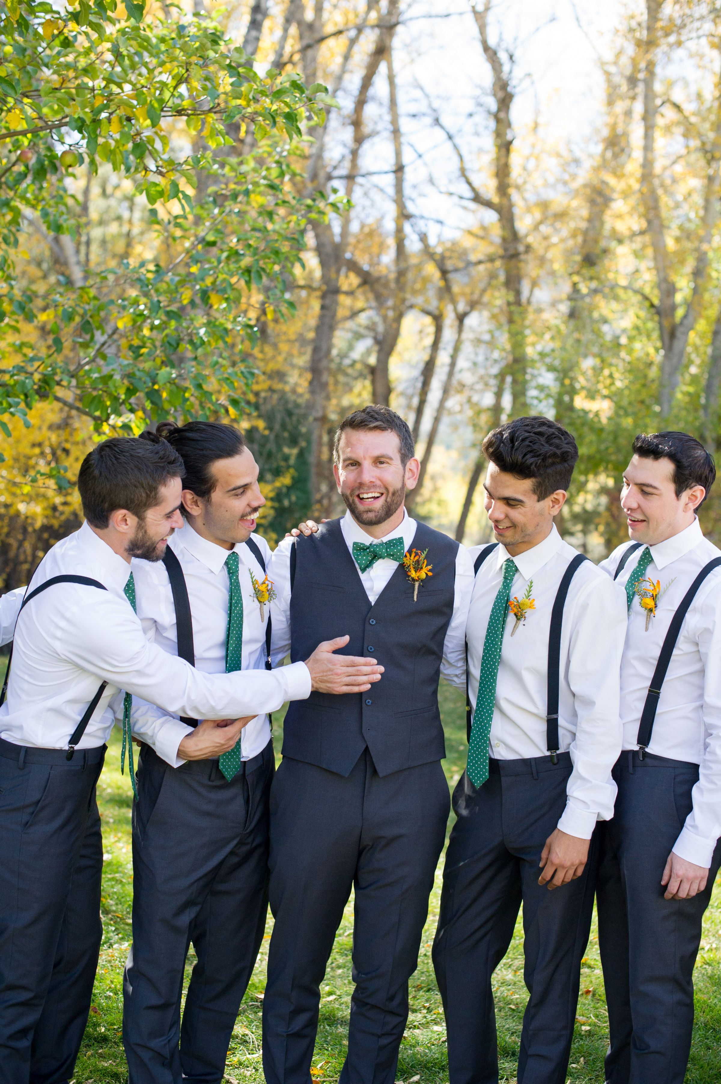 Groomsmen with green ties