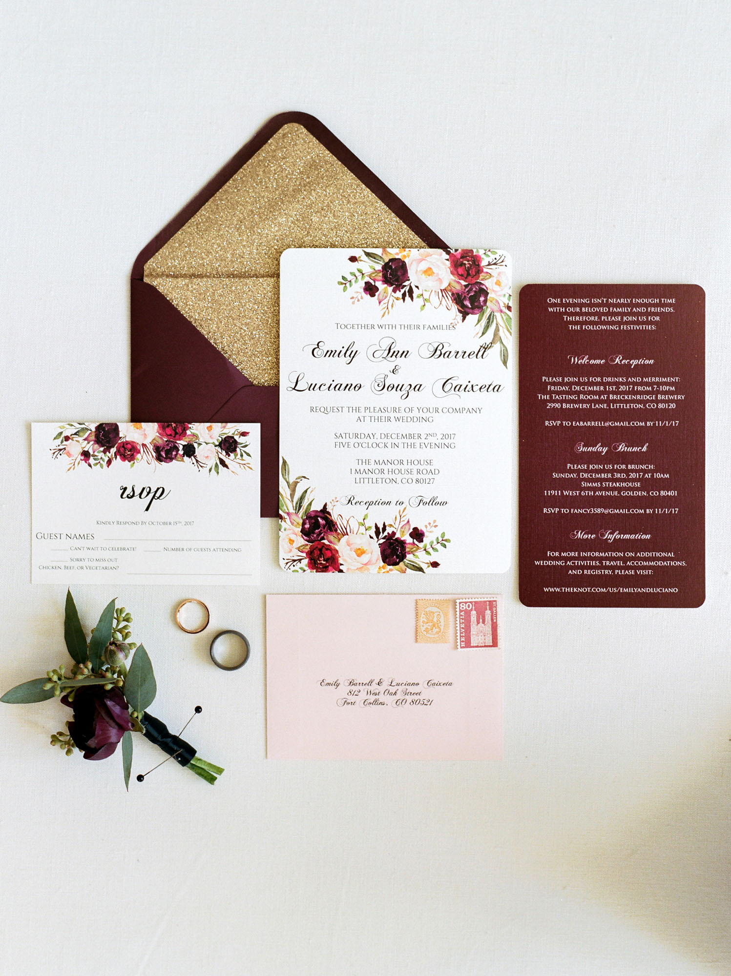 Wedding Invitation with Jewel Tones