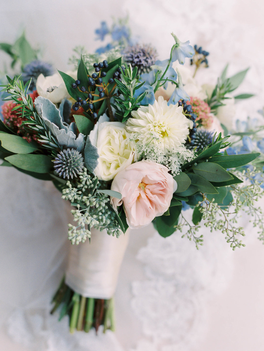 Wedding Bouquet with blues and pinks
