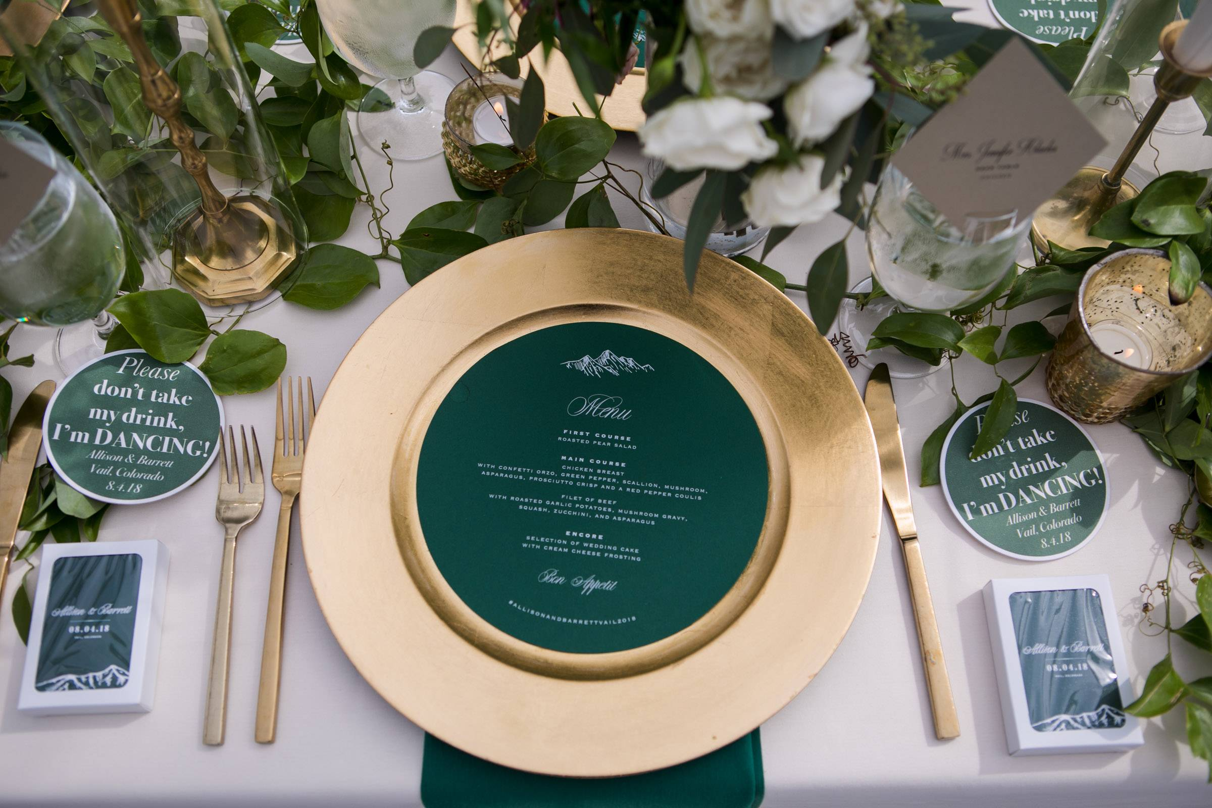 Emerald Green and Gold Wedding