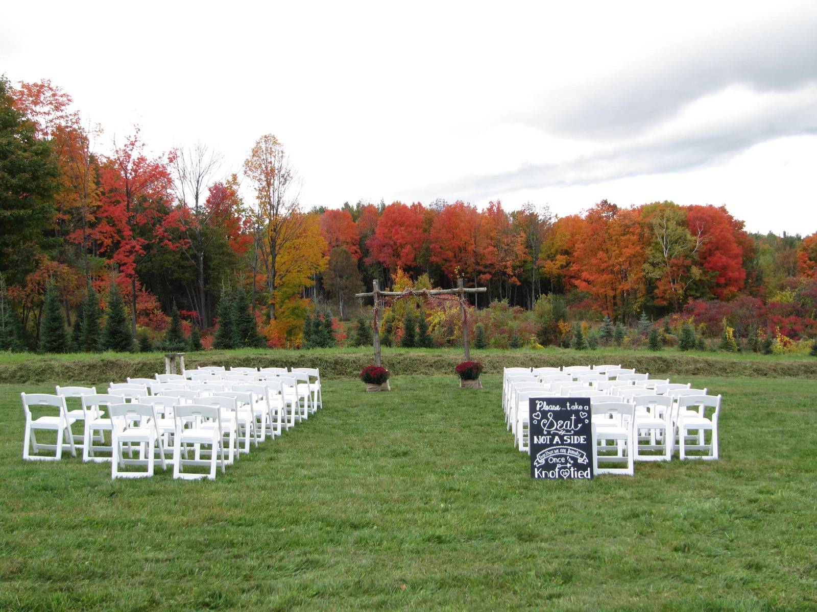 Fall outdoor wedding ceremony at Sharp Farm in Vermont