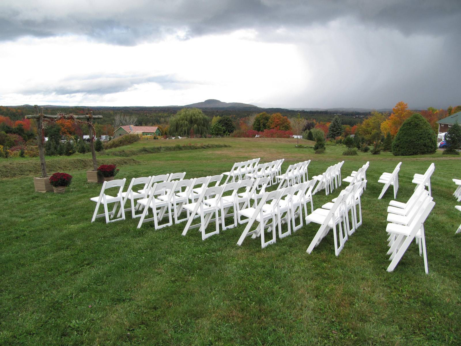 Fall outdoor wedding ceremony at Sharp Farm in Milton Vermont