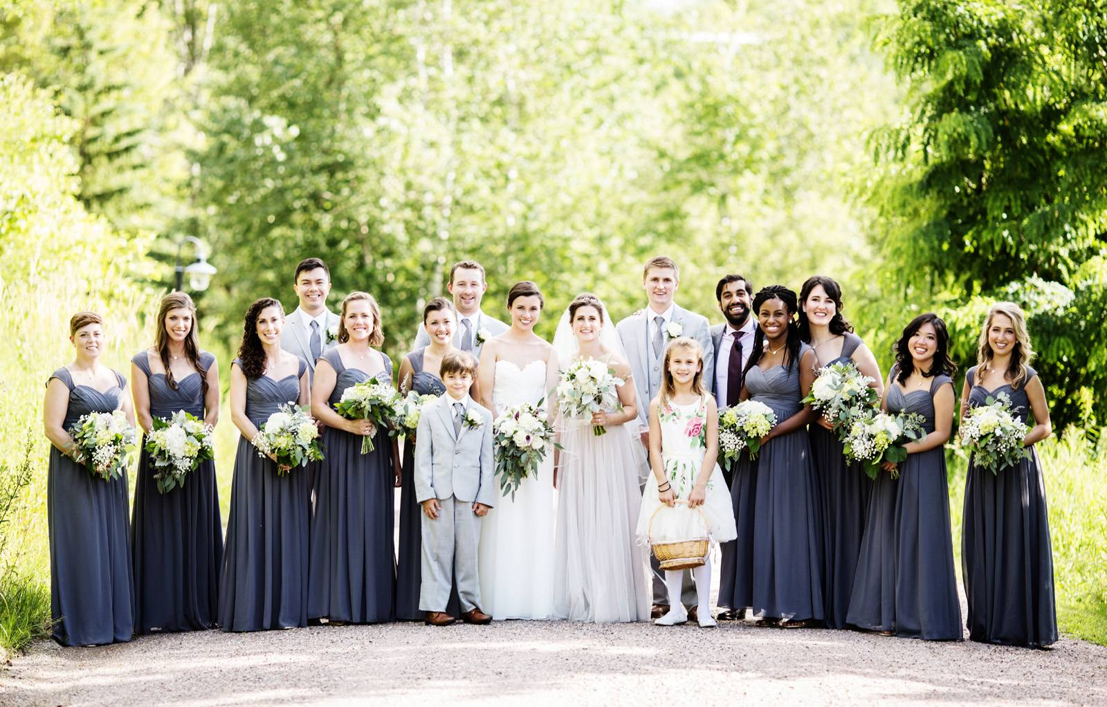 Gray bridesmaid dresses and groomsmen suits wedding party at The Ponds at Bolton Valley for summer V