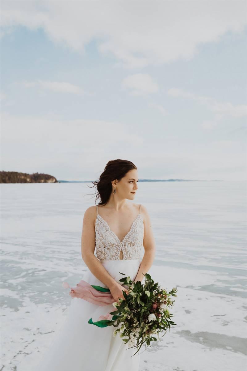 Bridal portrait on frozen lake Champlain