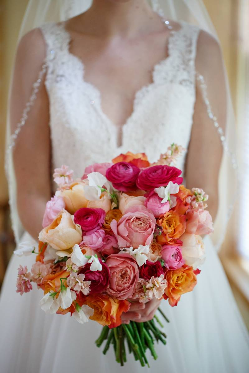 Colorful pink bouquet close up