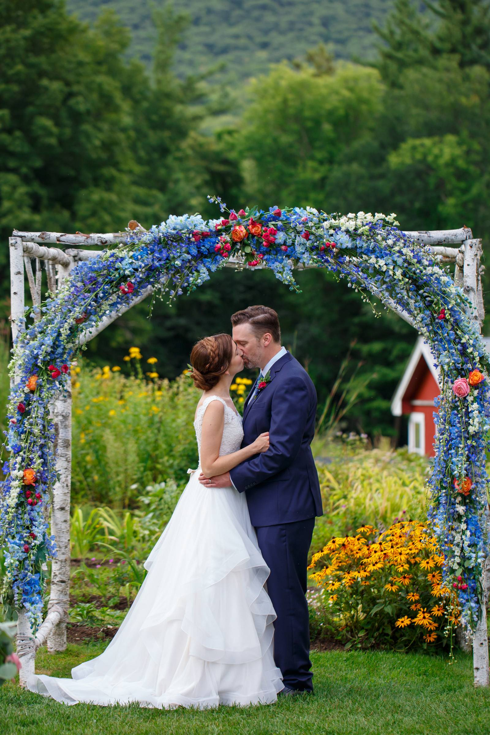 Blue floral ceremony arch drapery decor inspiration