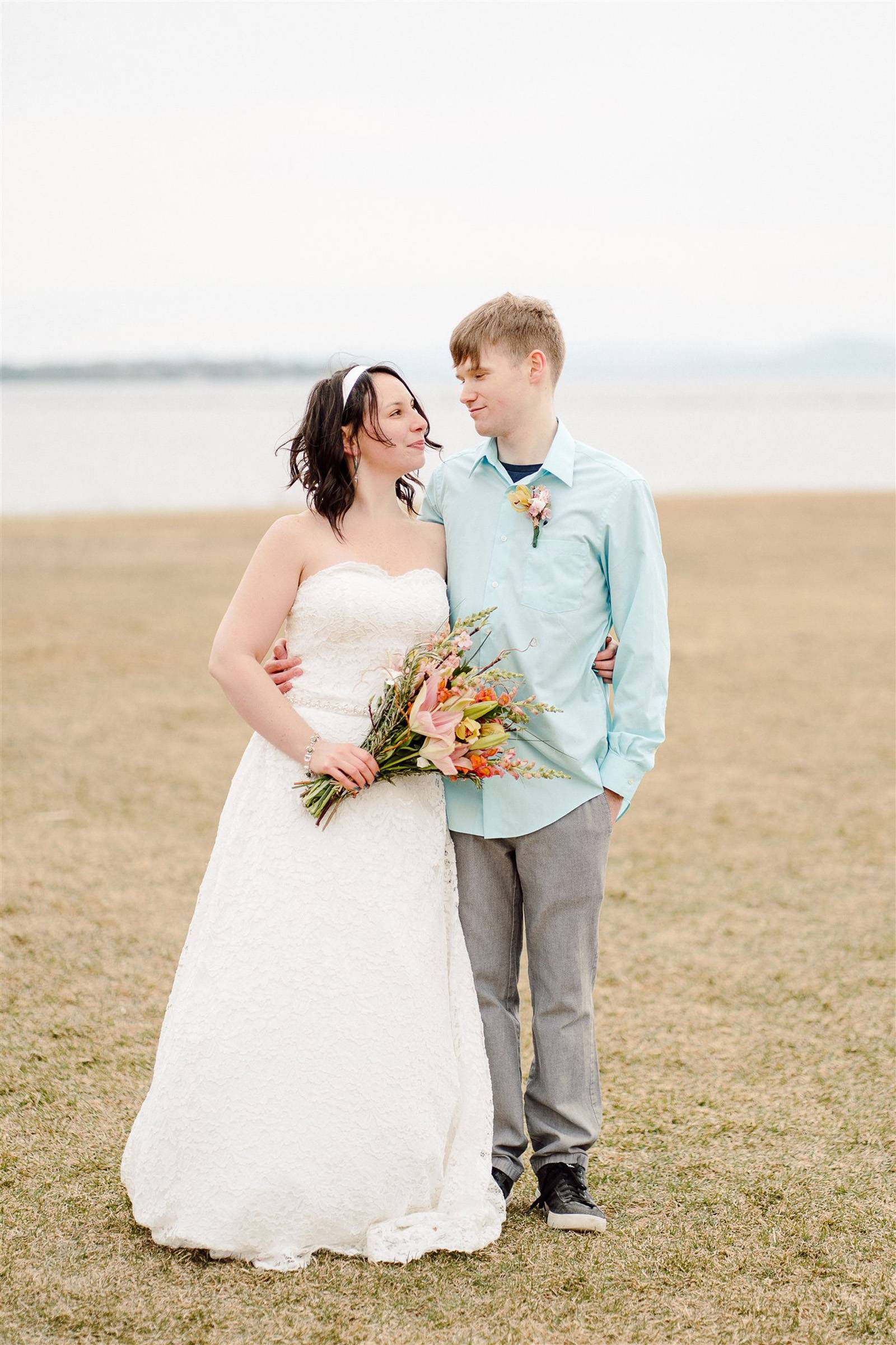 Bride and groom in Burlington's Waterfront Park during elopement