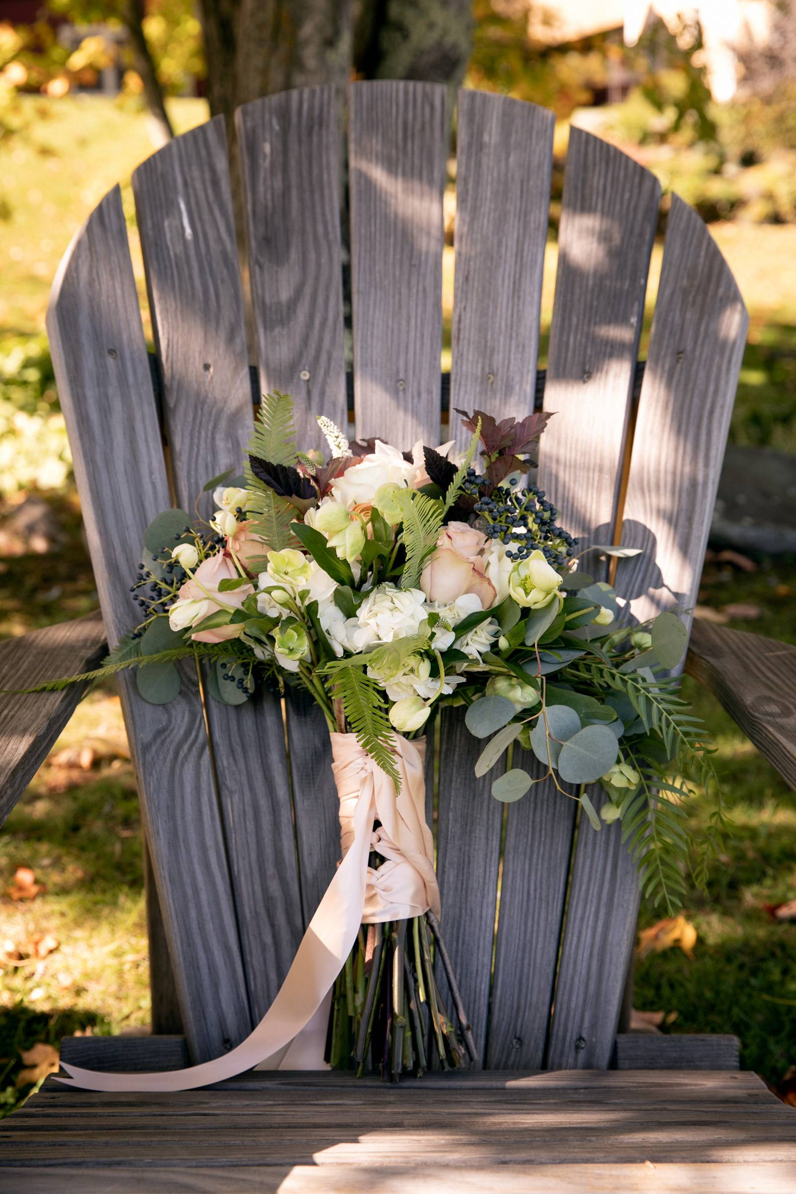 Fall wedding bouquet with blush pink ribbon and eucalyptus for Vermont wedding