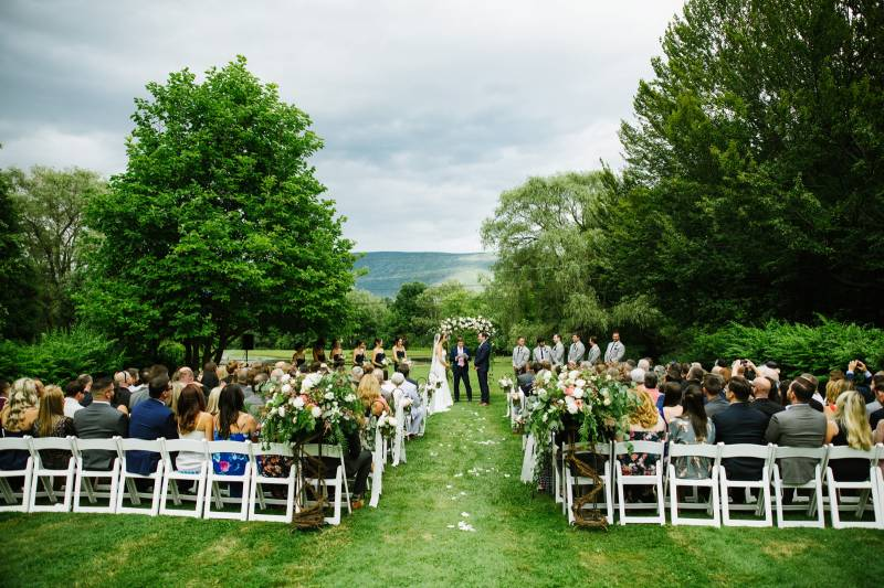 Outdoor wedding ceremony at The Equinox in Manchester Vermont