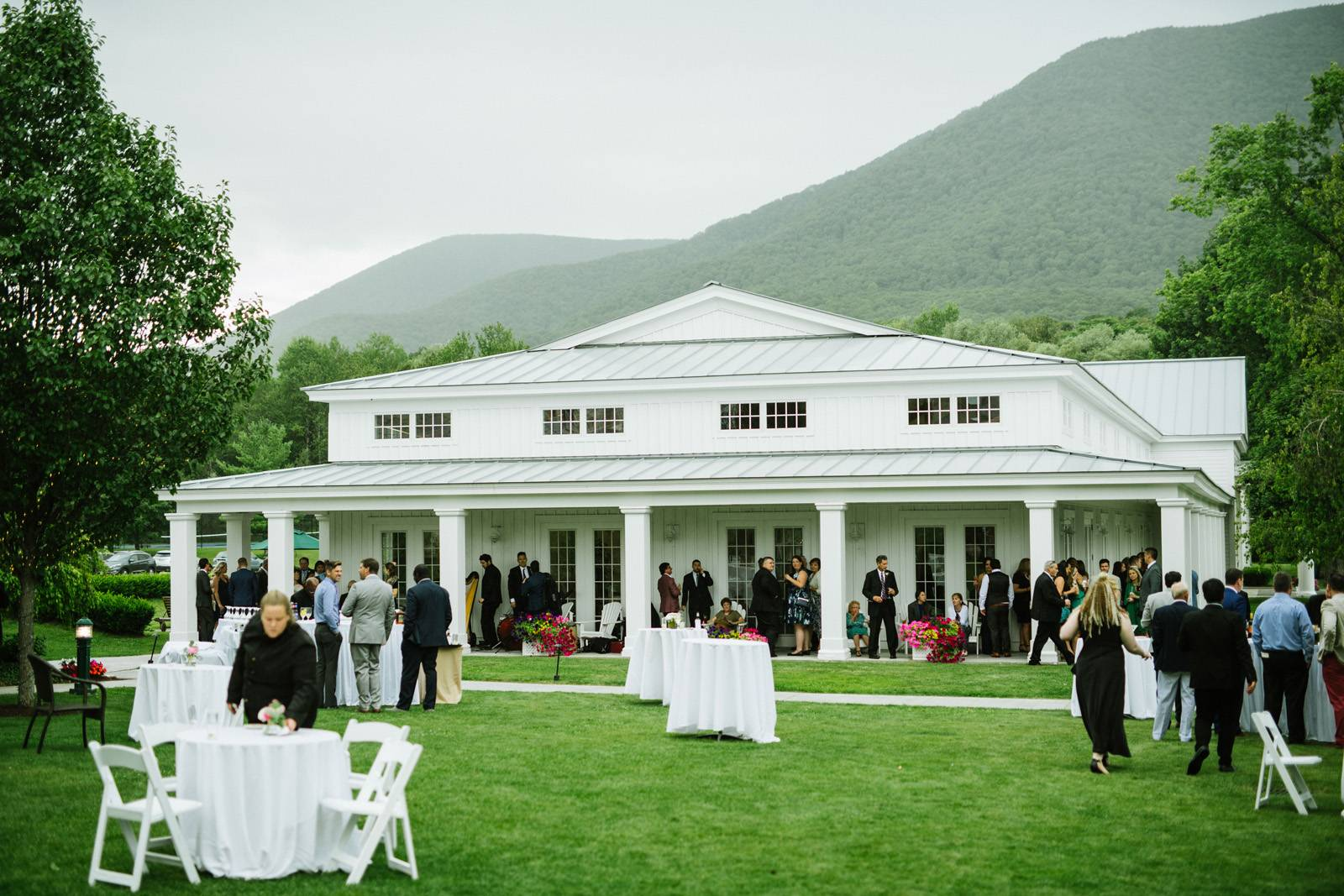 Outdoor cocktail party for summer wedding at The Equinox in Manchester Vermont