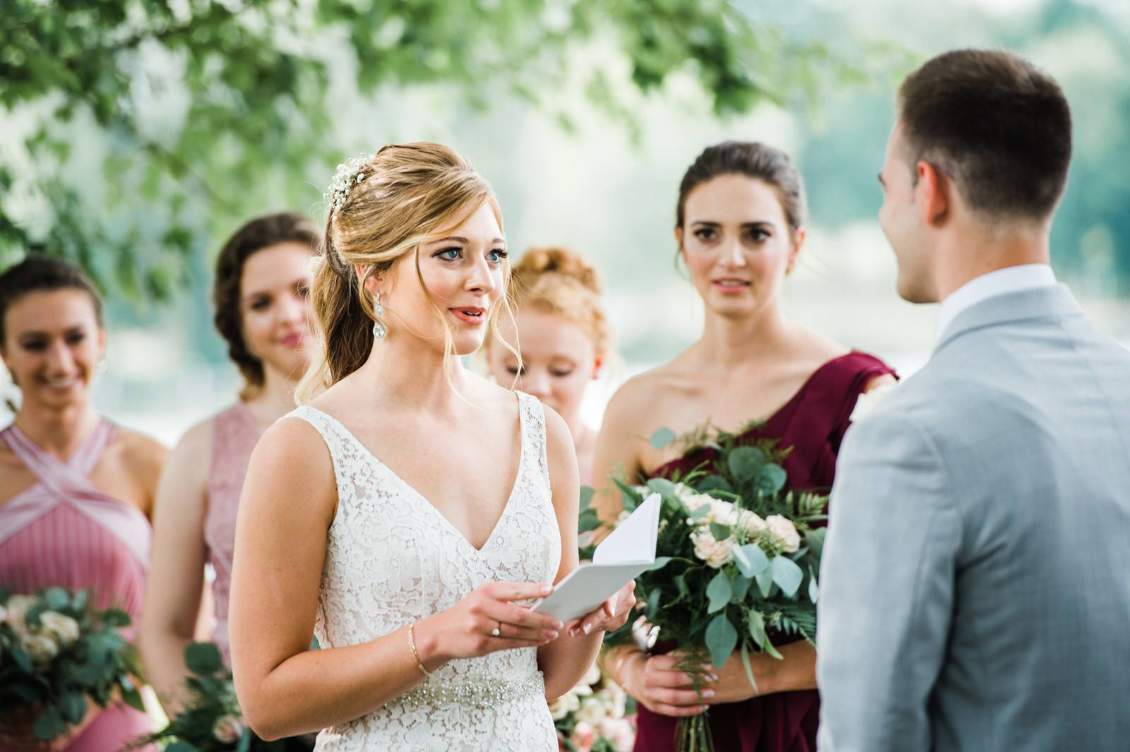 Bride reading vows on wedding day