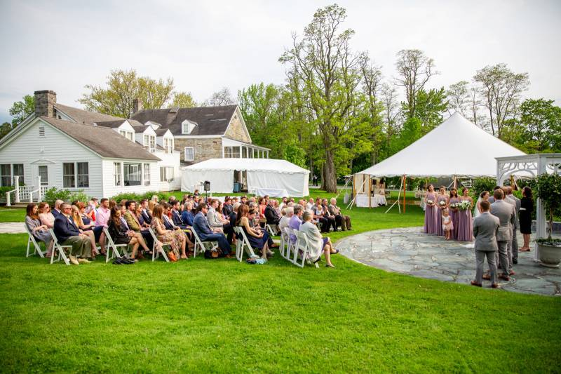 Outdoor ceremony at Basin Harbor Club for summer wedding