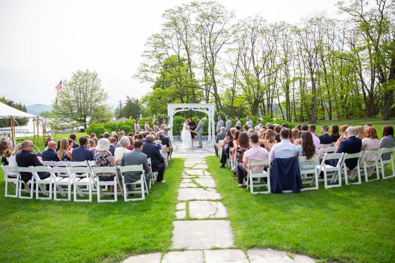Outdoor ceremony archway at Basin Harbor Club for summer wedding