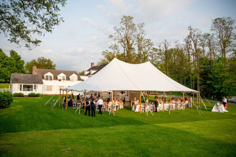 Outdoor tent set up for wedding reception at Basin Harbor