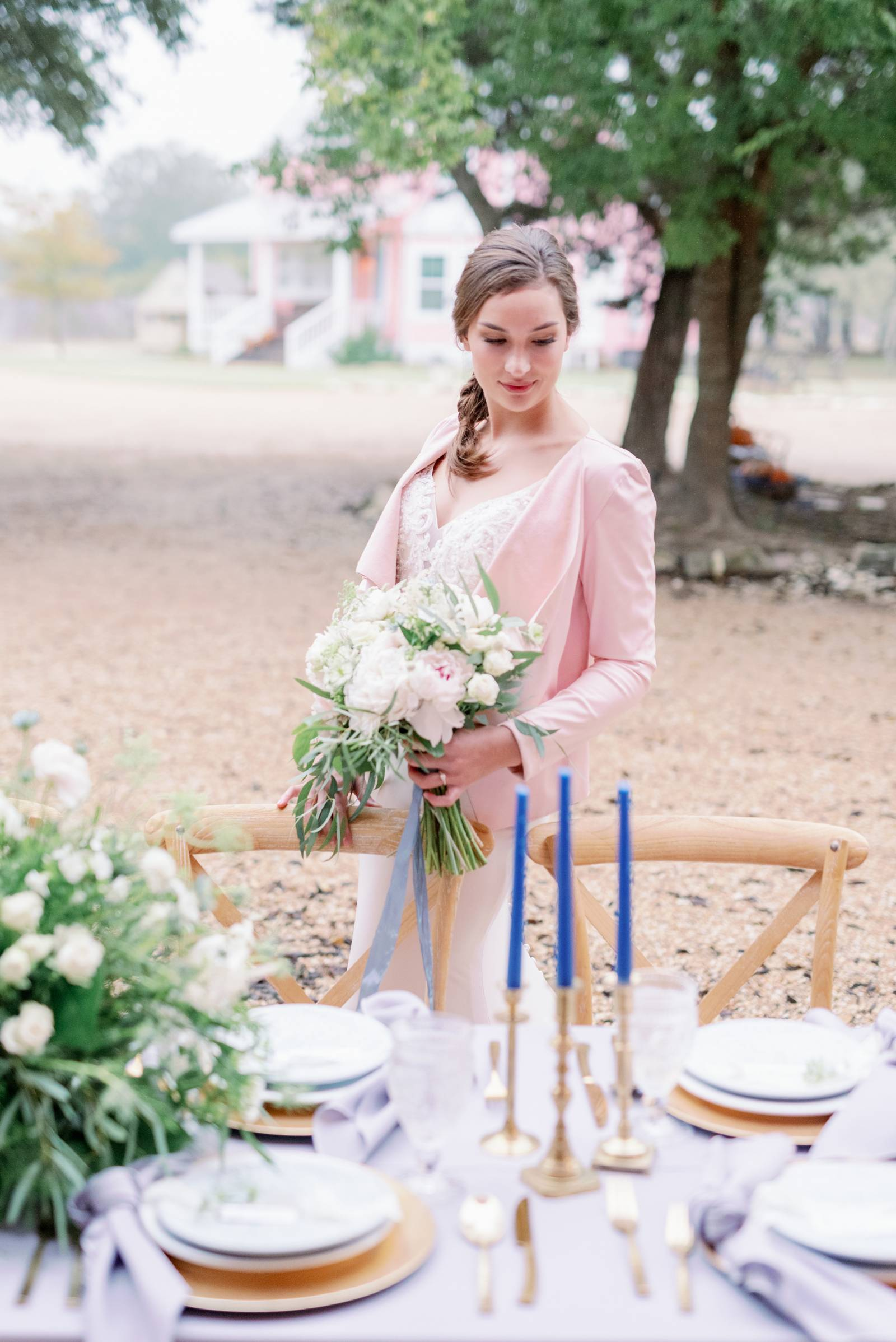 Bride in a pink blazer