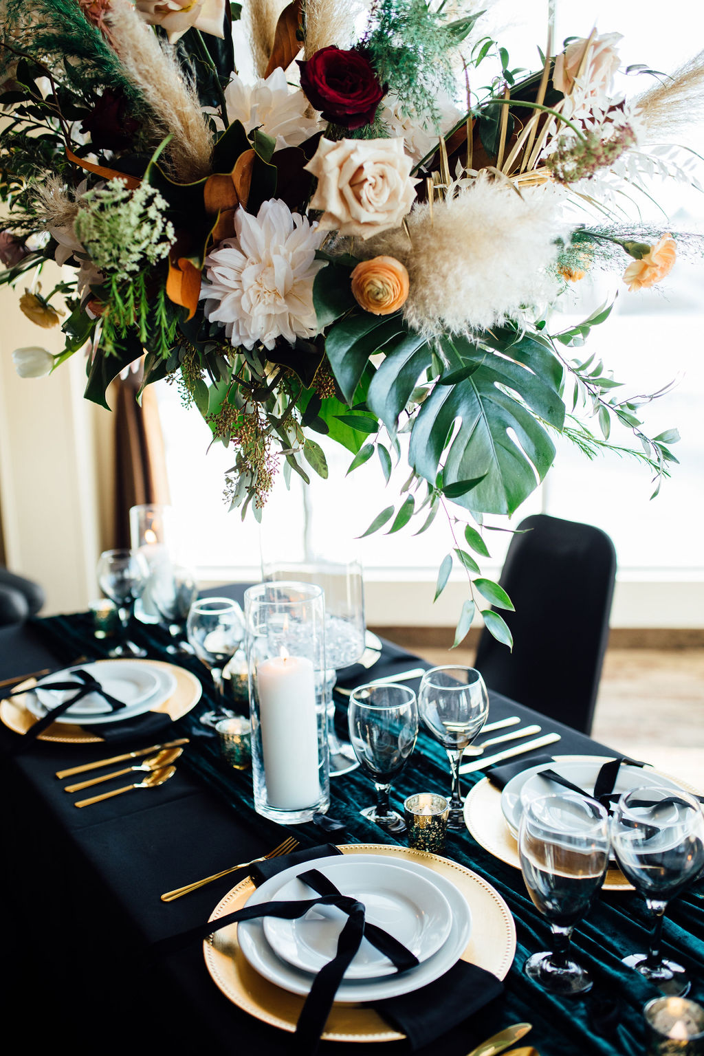 Black, Gold and Emerald Wedding Decor with Towering Floral Center Piece