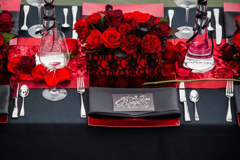 Red and Black Wedding Table Decor