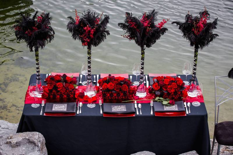 Red and Black Wedding Decor