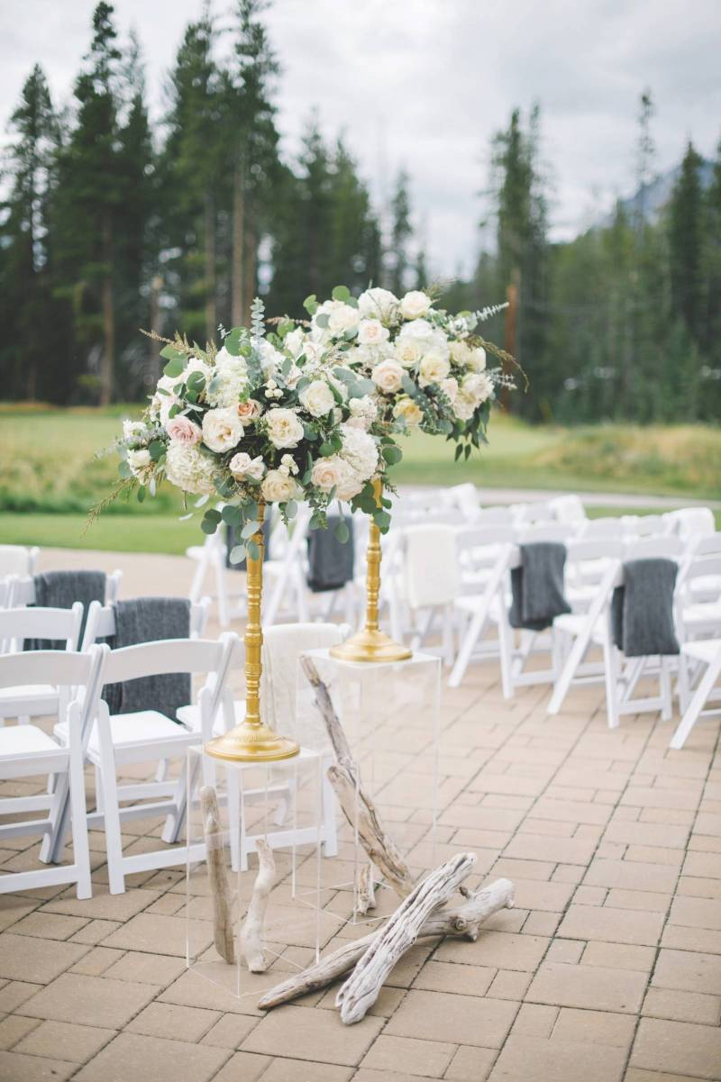 Rustic Romantic Mountain Wedding Ceremony Decor