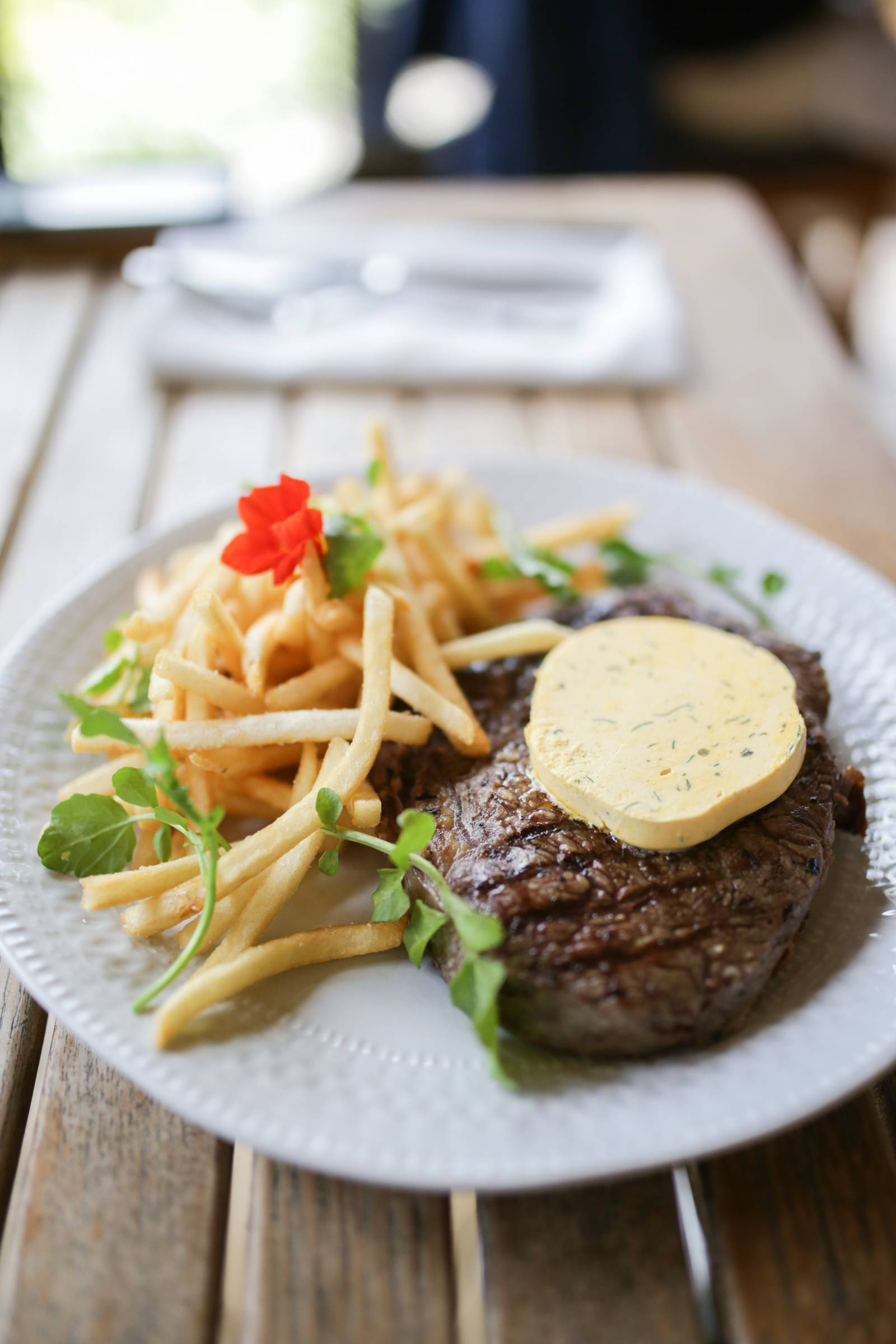 Steak with cafe de paris butter and french fries at Centennial Vineyards, Bowral