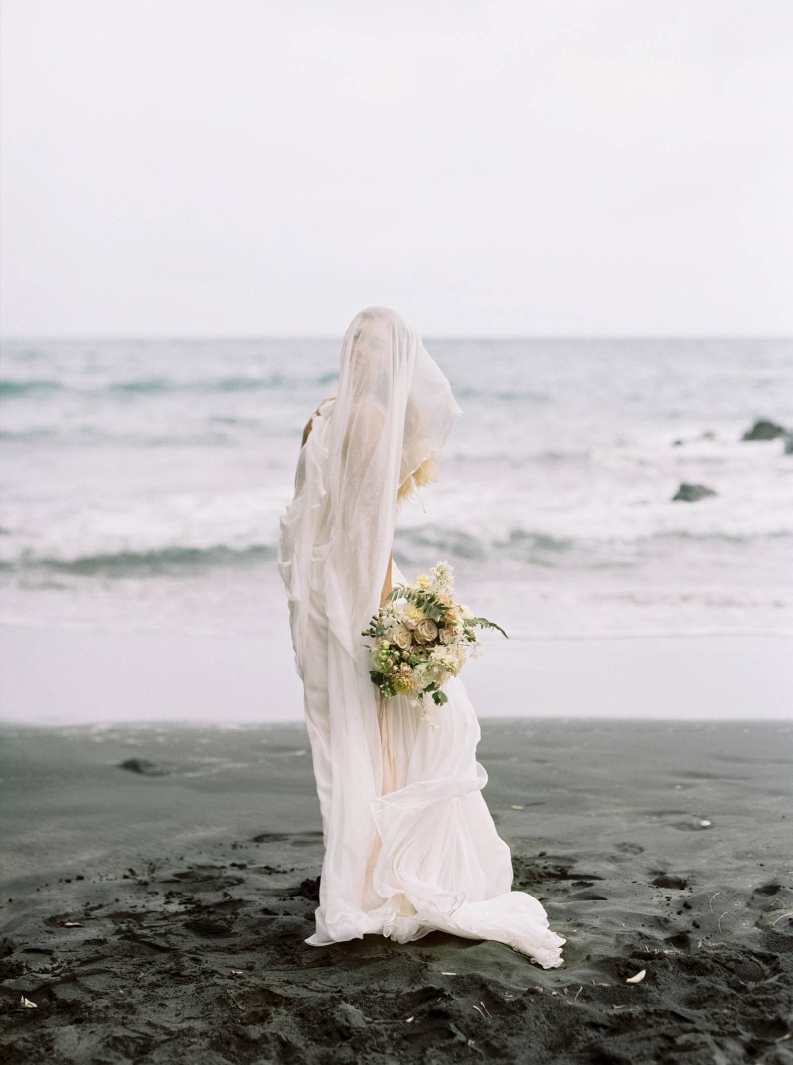 Ethereal Bridal Shoot On A Black Sand Beach In New Zealand Auckland Wedding Inspiration