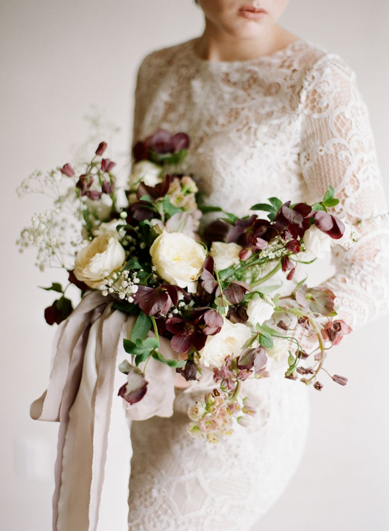 Simple Modern Wedding Inspiration In Plum Ivory British