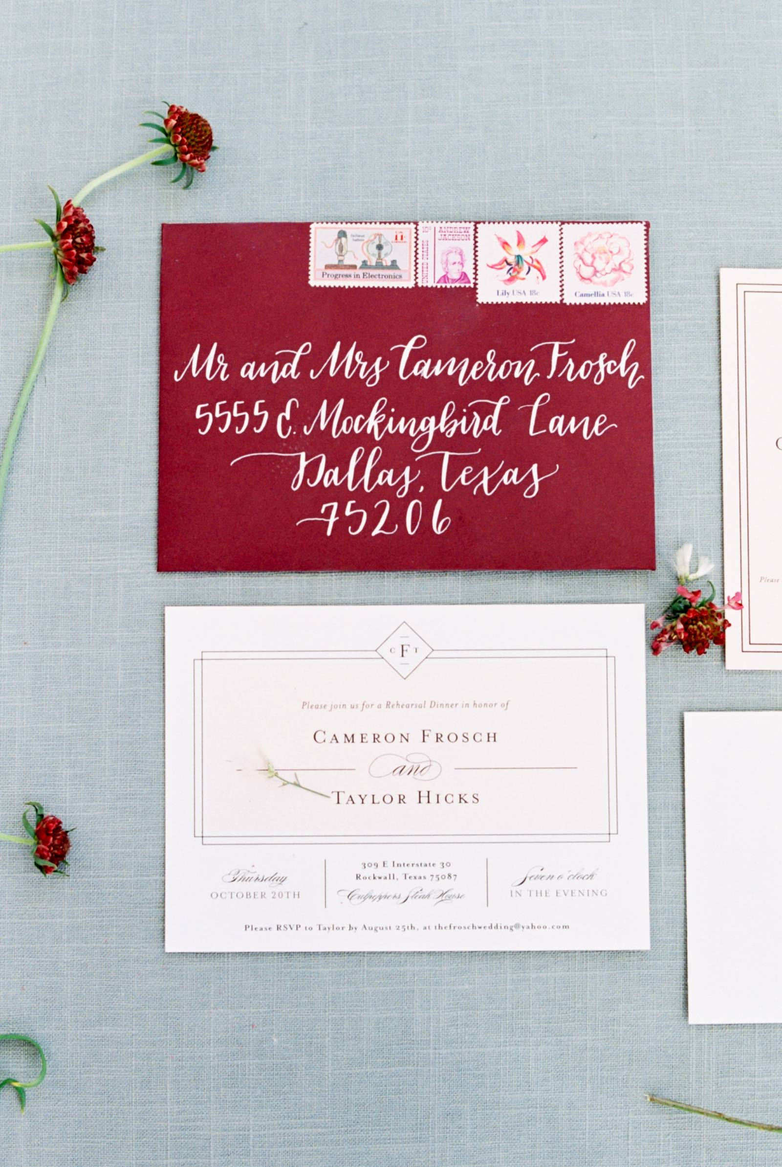 Winter Wedding in Texas with pops of pomegranate red | Texas Real ...