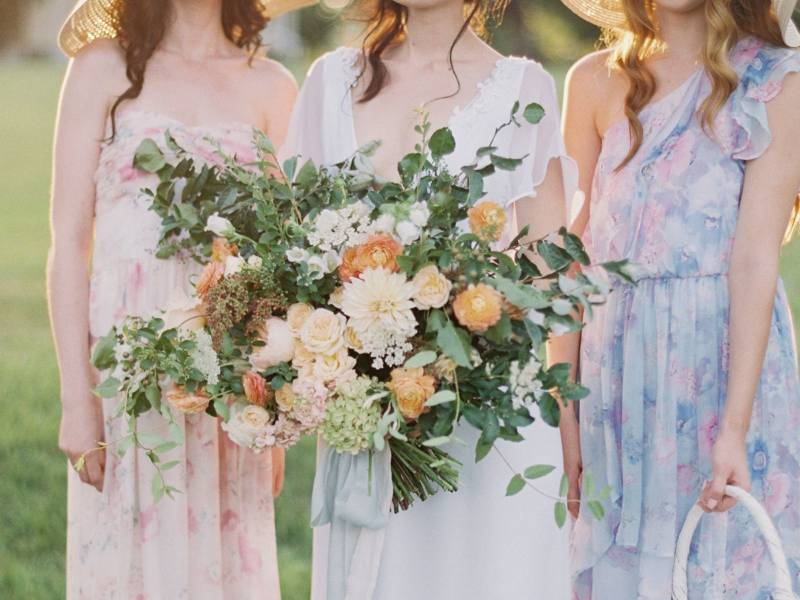 Bridesmaids with summer florals