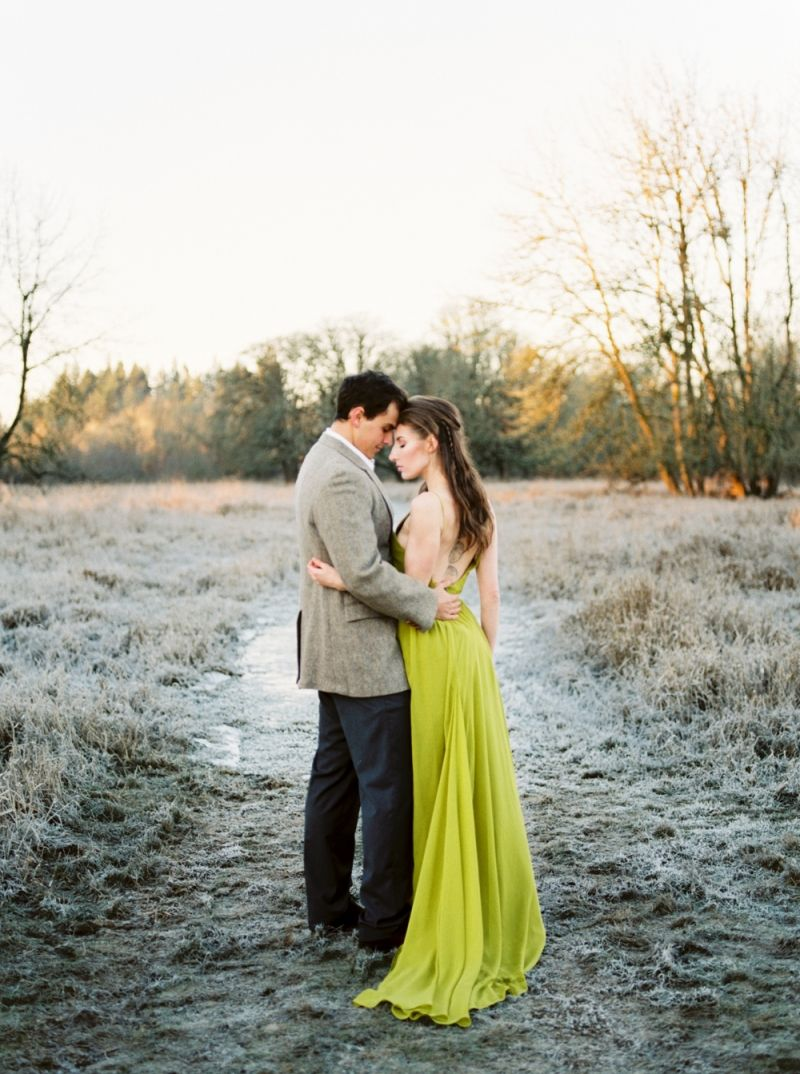 Bride and Groom in winter landscape