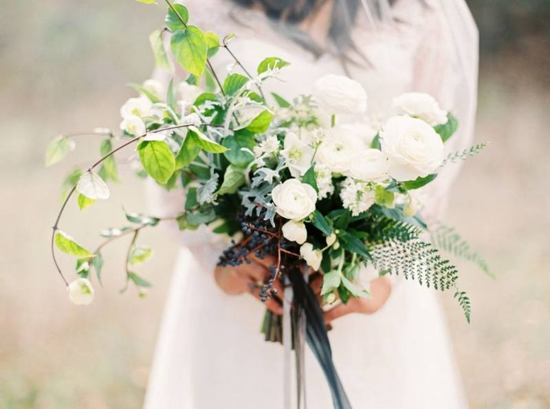 White bouquet with ranunculus