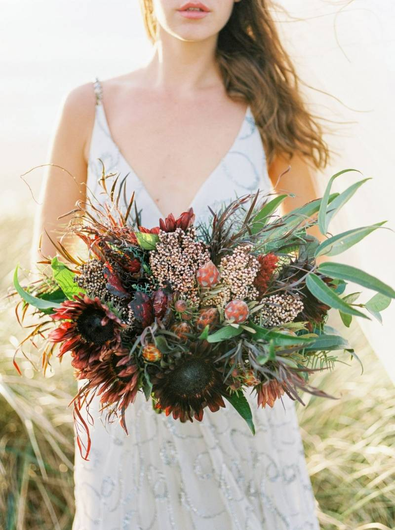 Wild red sunflower bouquet
