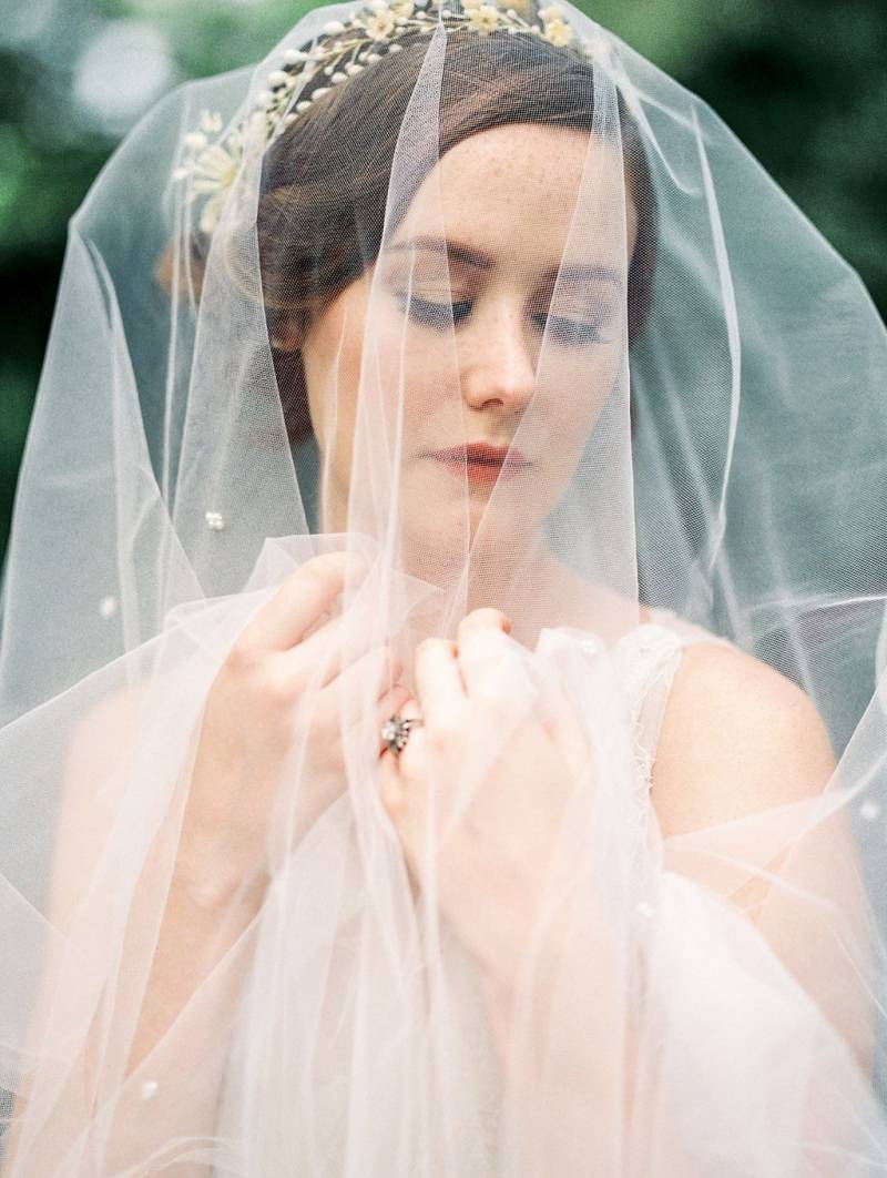 Veil and wax flower crown
