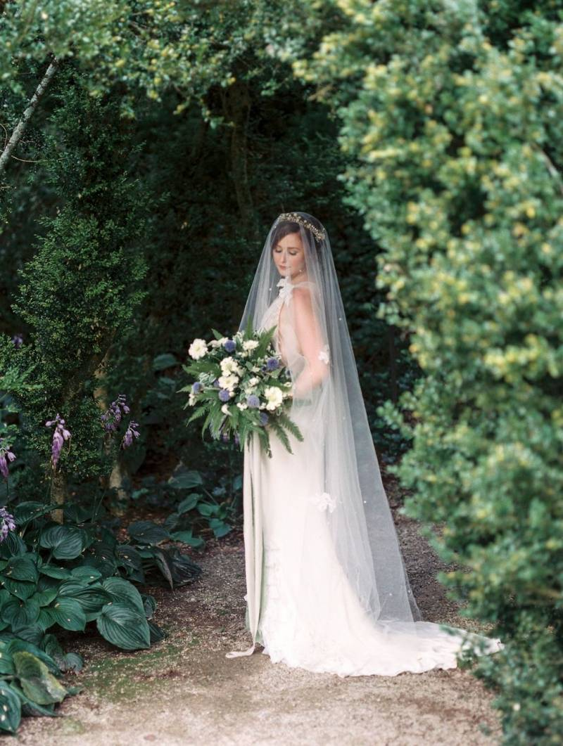 Romantic bride in garden