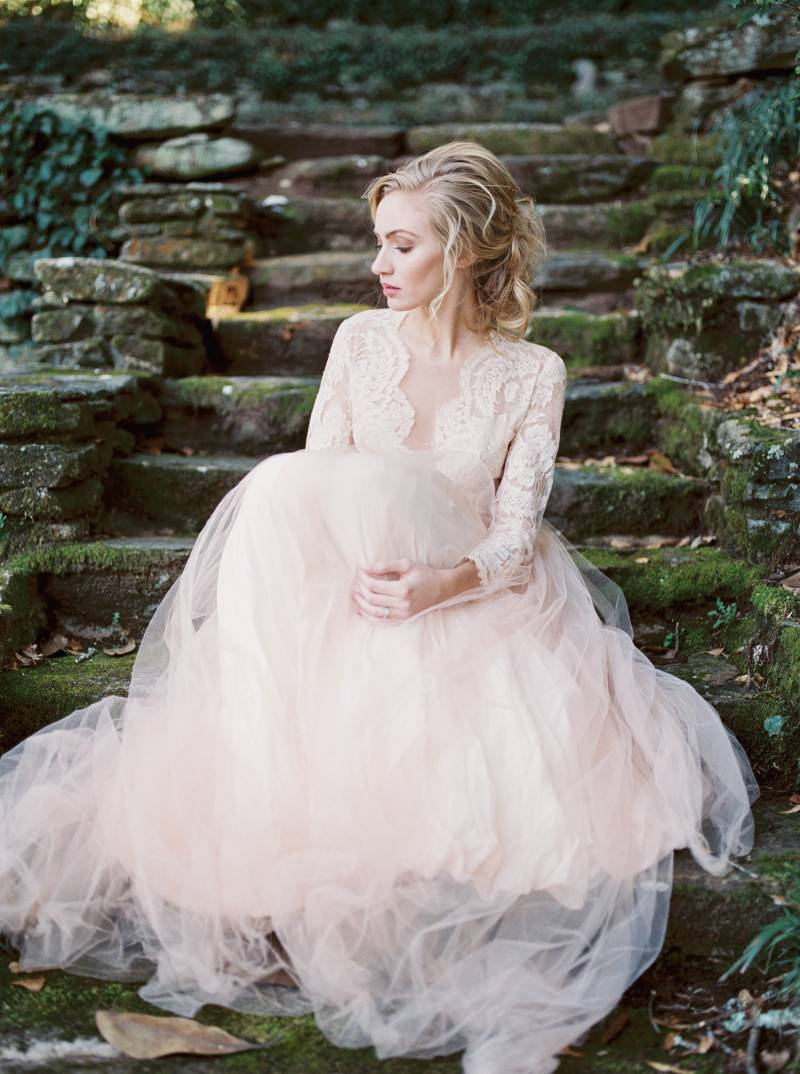 Romantic garden wedding inspiration with a pale peach gown | Auckland