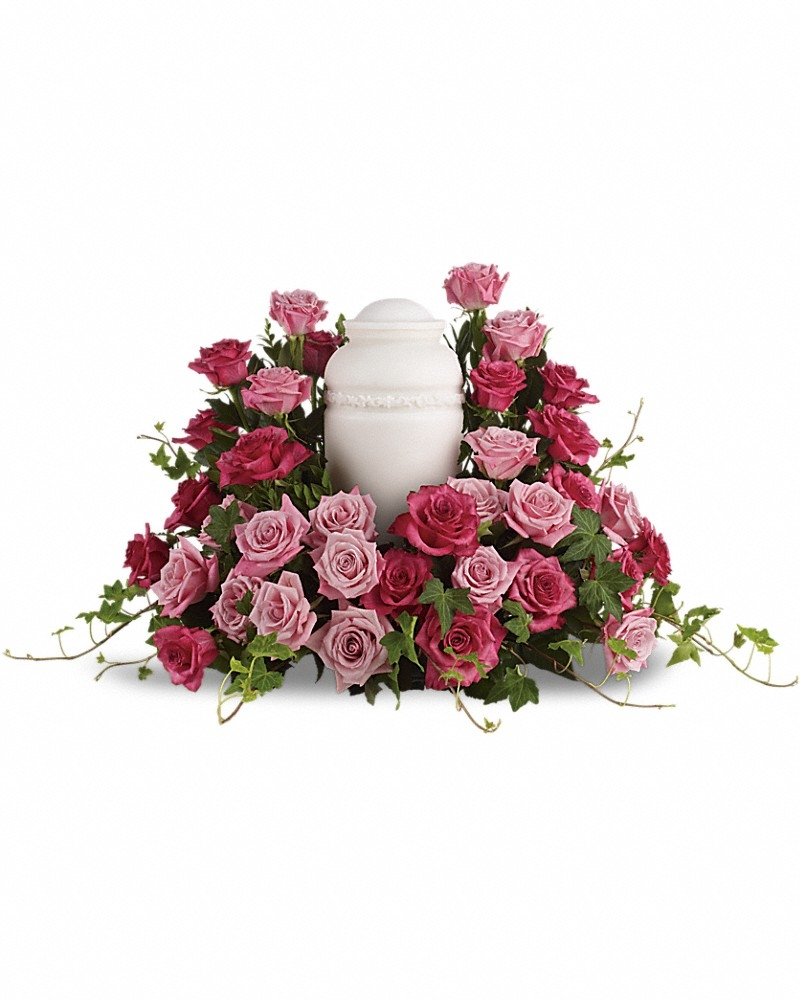 Bed Of Pink Roses Bouquet - Photo &Urn Tributes Flowers by In Full Bloom Winnipeg
