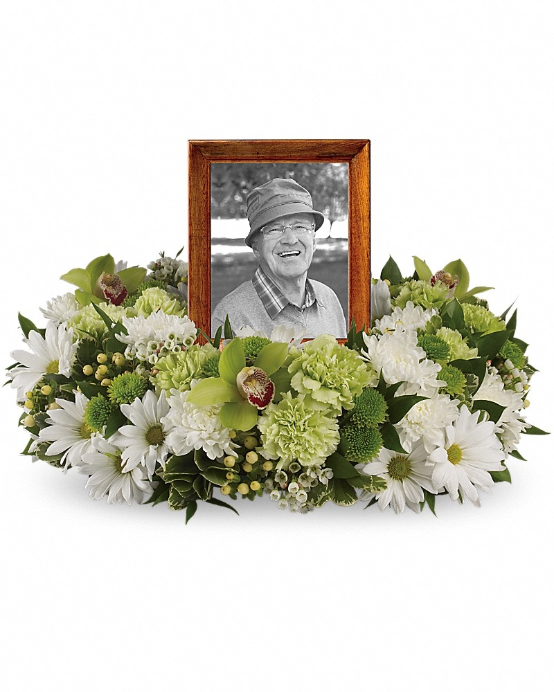 Garden Wreath - Photo &Urn Tributes Flowers by In Full Bloom Winnipeg