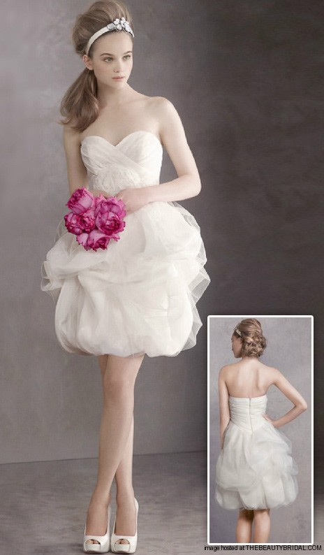 Short Satin Faced Organza Dress With Tulle Overlay Style Vw351113