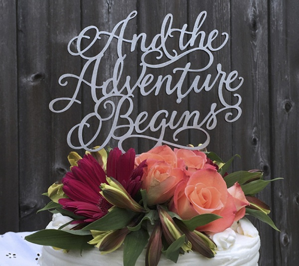 And The Adventure Beings Wedding Cake Topper