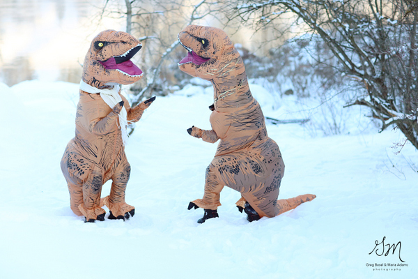 T-Rex Engagement by Greg Basil & Maria Adams Photography on Apple Brides