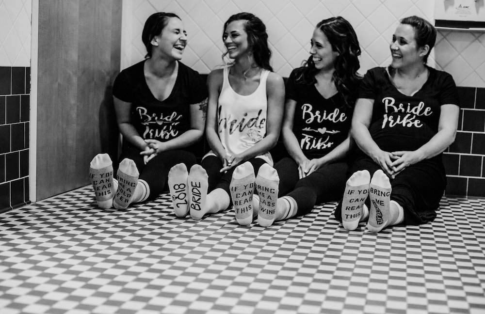 Bridesmaid Shirts & Socks | Central Washington University Wedding With The Sweetest Backstory on App