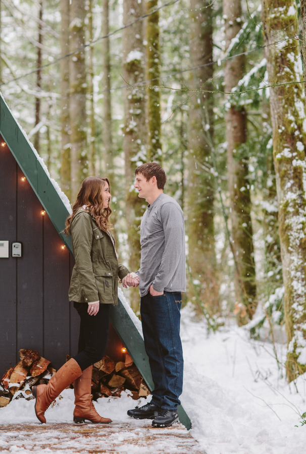 Cozy and Romantic Skykomish Engagement at an A-Frame Cabin