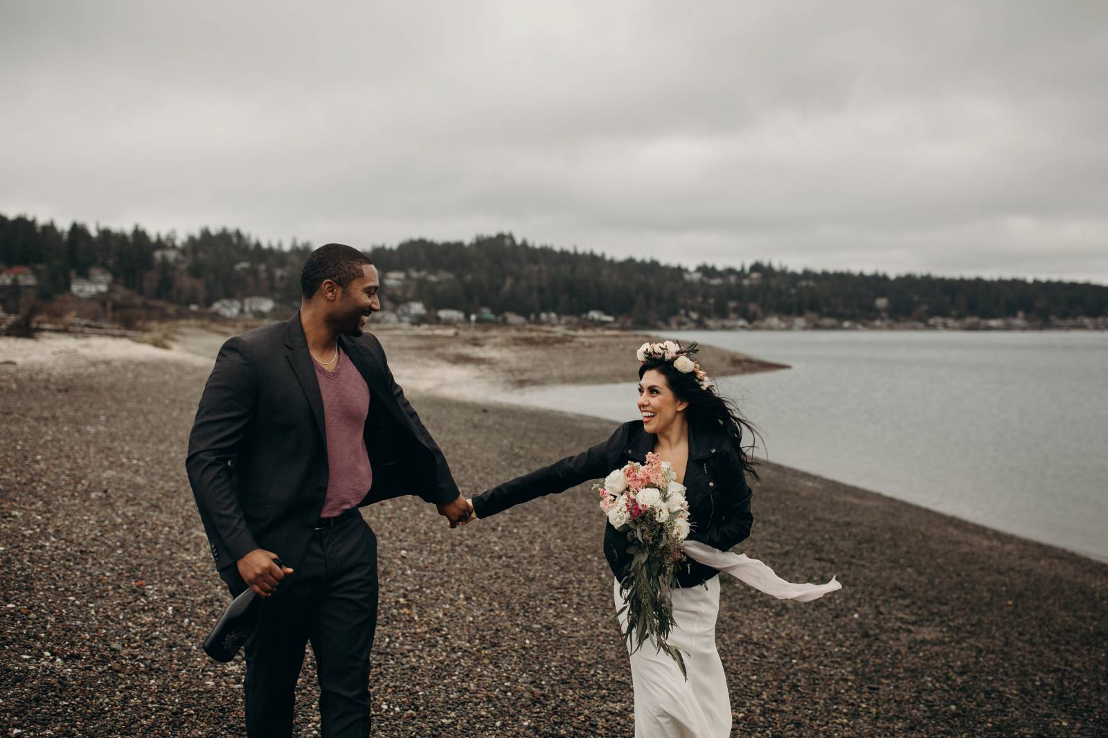 Romantic & Edgy Styled Coastal Elopement on Fox Island on Apple Brides
