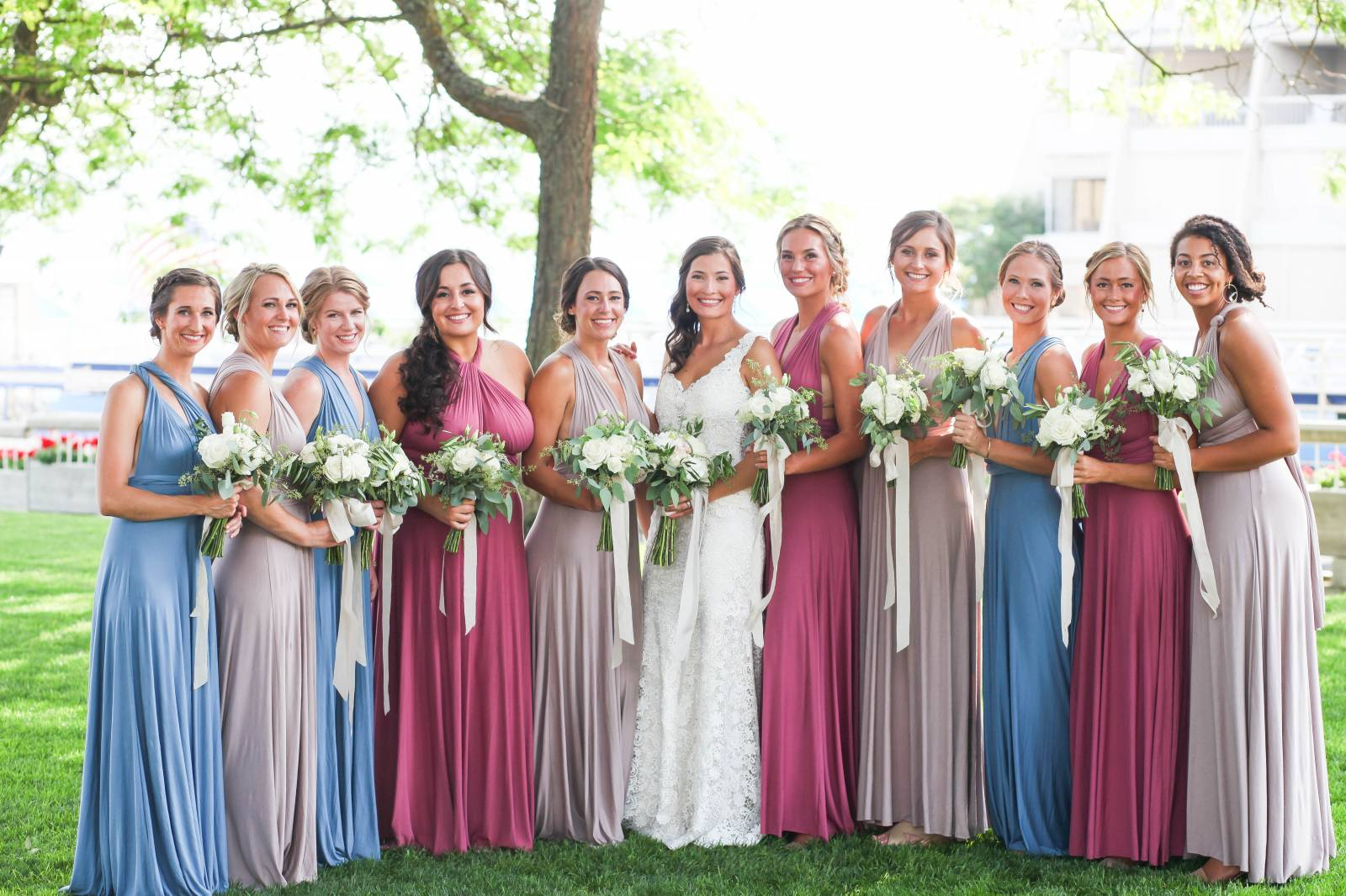 Mix + Match Bridesmaids | Fun + Colorful Lake Coeur d'Alene Wedding