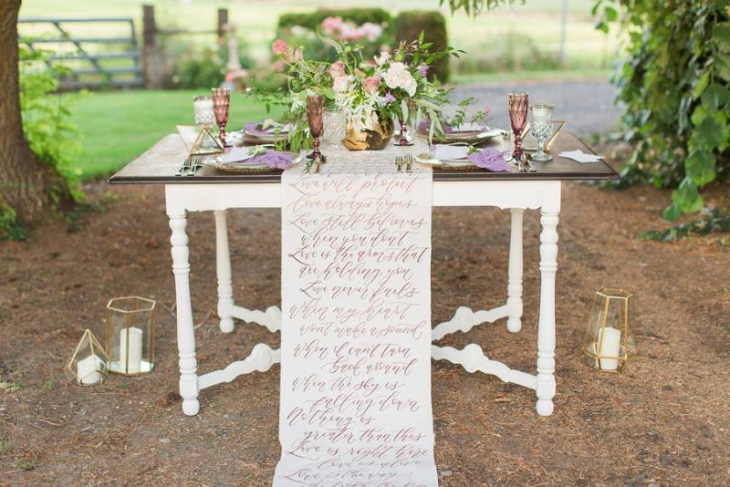 Romantic and Ornate Styled Wedding Inspiration in Oakesdale, WA on Apple Brides