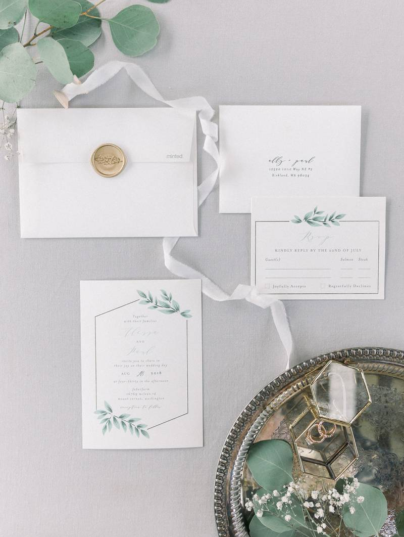 White & Green Stationery