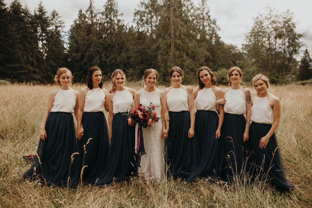 Two-Tone Bridesmaid Dresses