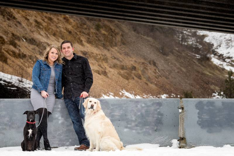 Snowy Coeur d'Alene Engagement Session on Apple Brides